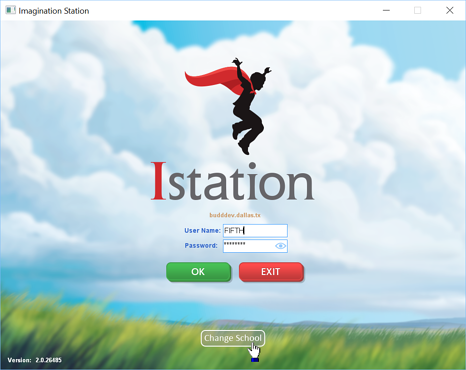 Istation login screen