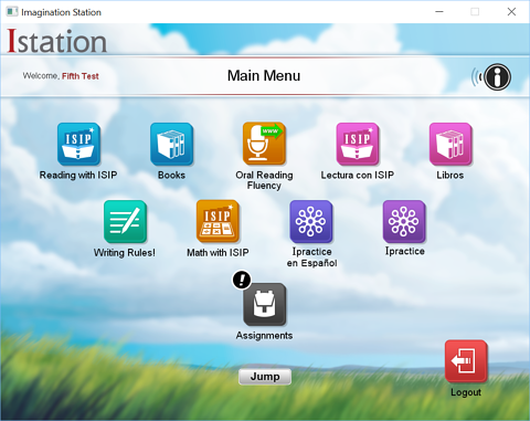 Istation main menu - student
